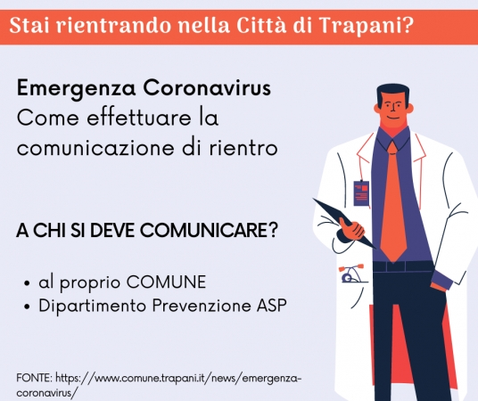 Procedura da seguire per chi rientra a Trapani