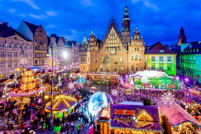 Luci dell'avvento a Cracovia e Breslavia Europa